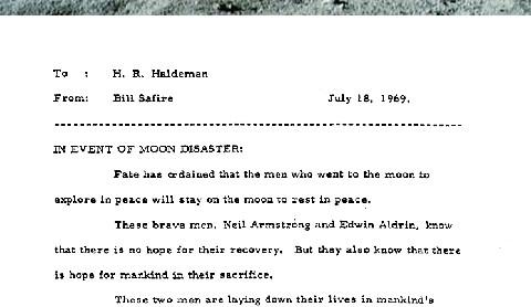 아폴로 11호의 달착륙 실패시를 대비한 연설문